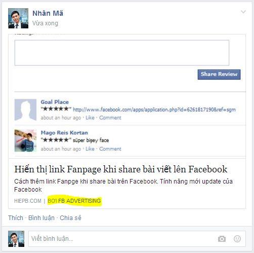 hien thi link fanpge khi share facebook