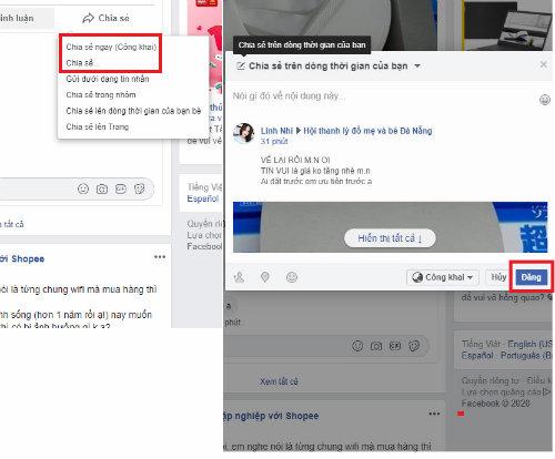 cach chia se o che do cong khai facebook
