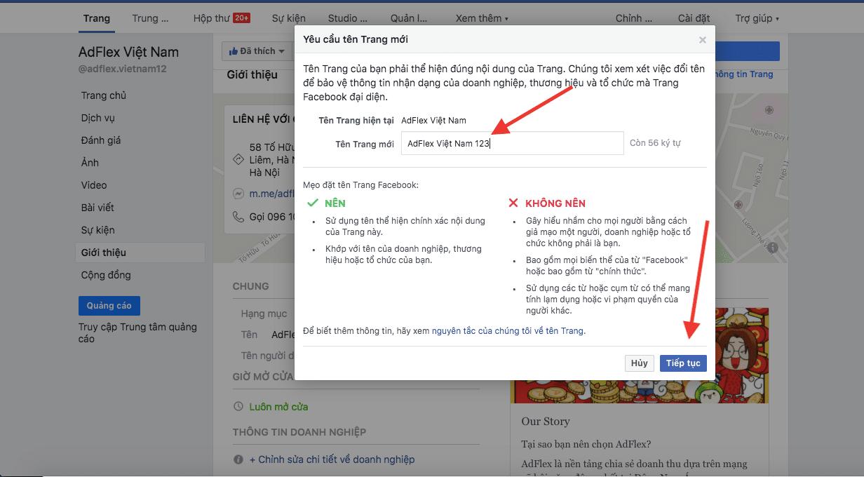 Nhập tên fanpage facebook mới
